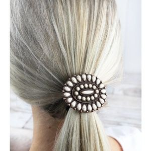 White Beaded Coppertone Oval Concho Hair Tie